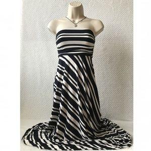 Banana Republic Black White Dress Strapless XXS